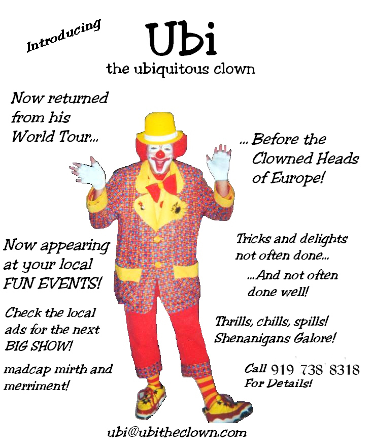 An early Ubi the Clown advertising flyer (updated for current phone number)