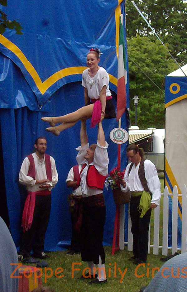 Acrobats performing during the pre-show.