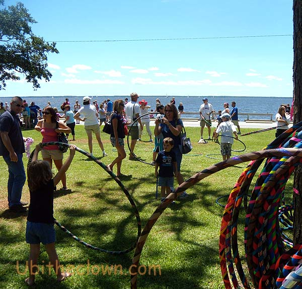 My partner Karen Tiede runs the hula hoop area on the edge of the inlet.
