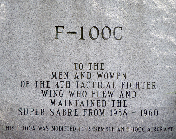 F-100C dedication plaque