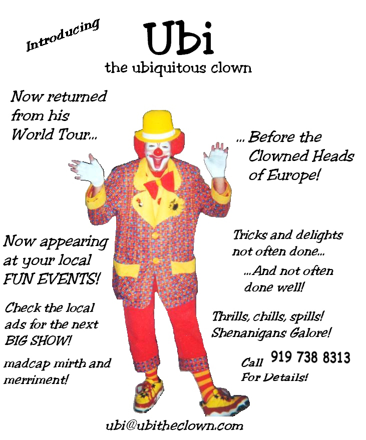 Ubi the Clown's advertising flyer