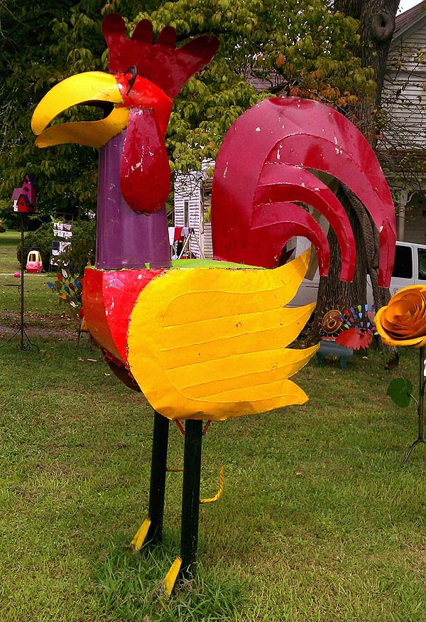 The Original Giant Chicken in the front yard of the French Connection in downtown Pittsboro, NC, just north of the circle that marks the intersection of 64 business and 15-501.