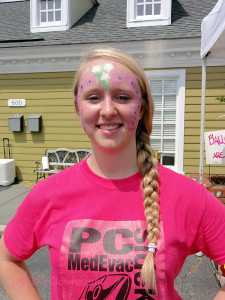 Face paint with glitter.