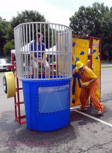 This dunk tank had a lot of ways to get someone in the water.