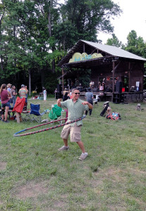 Jeff Philips, Infocus Studios, working the big hoop.