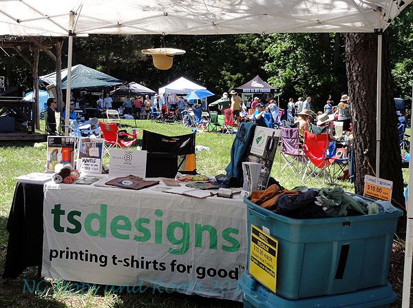 TS Designs booth, selling garment dyed t shirts made from organic American-grown cotton.