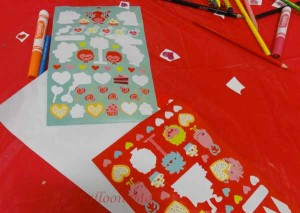 Valentine sticker fun.