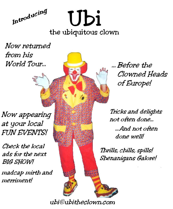 Ubi the Ubiquitous Clown, entertaining in Eastern NC.